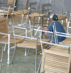 Inox steel furniture assembling