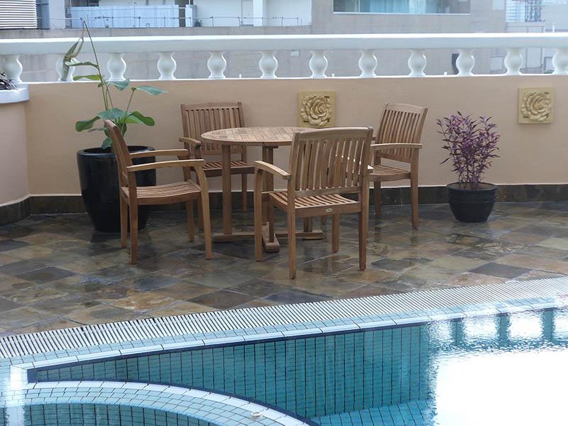 condominiums furniture Mayang Court TIARA ROUND TABLE - TIARA STACKING CHAIR
