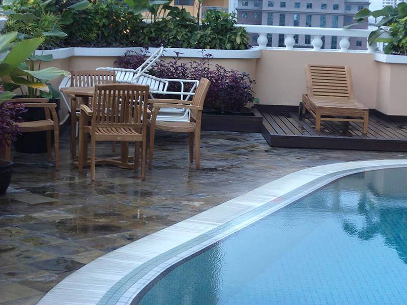 condominiums furniture Mayang Court TIARA ROUND TABLE - TIARA LOUNGER - TIARA STACKING CHAIR