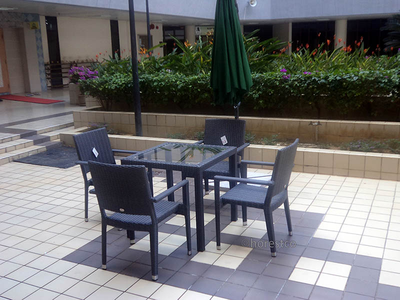 hotels furniture Petronas HAWAII ARM CHAIR - PANAMA GLASSTOP TABLE